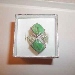 NWT Sterling Silver Green Peridot Bypass Ring Sz 7
